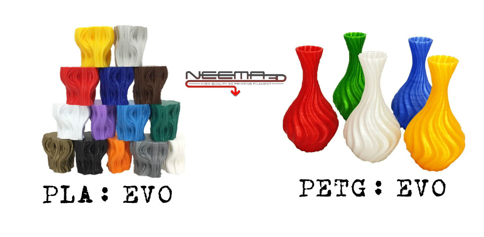 Μοναδικά χρώματα σε NEEMA3D™ PLA: EVO και PETG: EVO